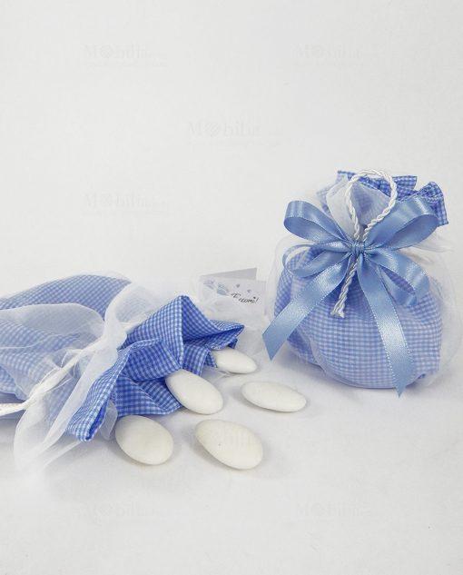 sacchetto cotone a quadri celesti e bianchi e nastro raso