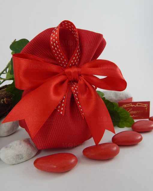 sacchetto cotone con doppio nastro rosso