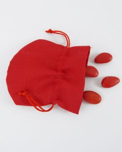 sacchetto portaconfetti a pouf cotone rigato rosso