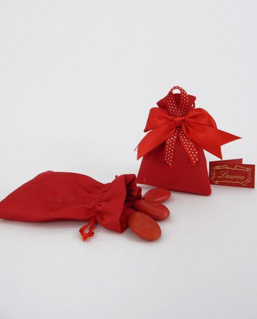 sacchetto portaconfetti con tirante rosso