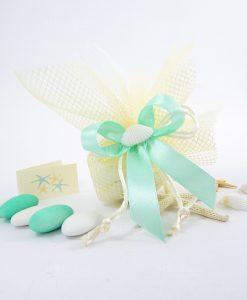 sacchetto portaconfetti rete panna con conchiglia naturale