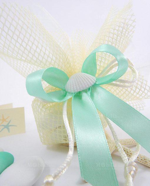 sacchetto portaconfetti rete panna con conchiglia naturale e nastro tiffany