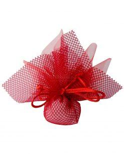 sacchetto portaconfetti rete rosso con tulle