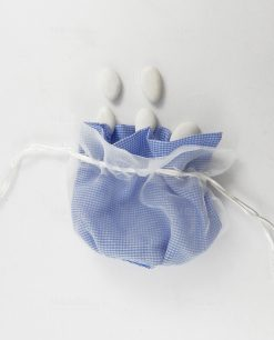 sacchetto pouf con tirante bianco e azzurro