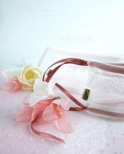 sacchetto puff con laccetto bianco e e rosa linea ombrellini ad emozioni