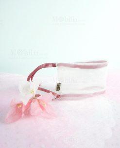 sacchetto puff con laccetto rosa con mazzetto fiori linea ombrellini ad emozioni