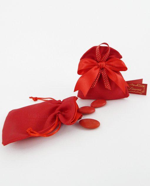 sacchetto rosso bustina cotone fuori raso dentro