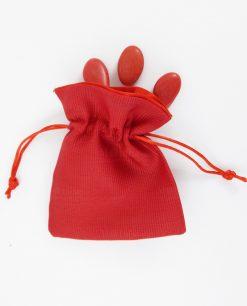 sacchetto rosso di cotone con raso
