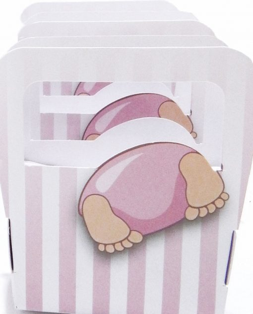 scatola a borsa con bimba testa dentro