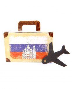 scatola a forma di valigia e bandiera russia