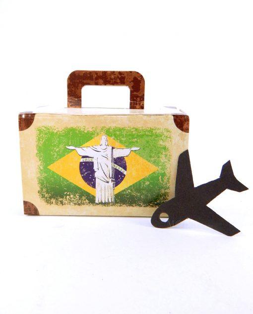 scatola a valigetta brasile con aereo cartoncino