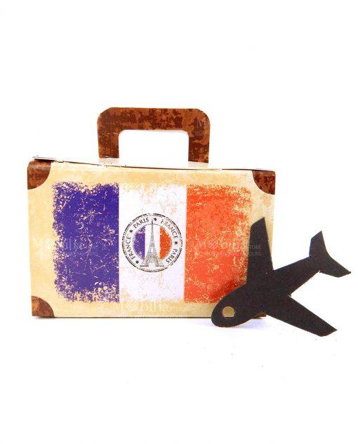 scatola a valigia con aereo e bandiera francia