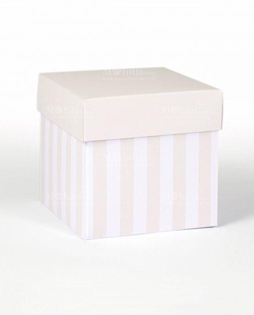 scatola cartoncino a righe bianca e sabbia