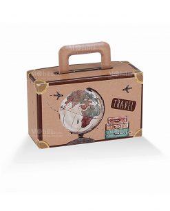 scatola cartoncino a valigetta con disegno mappamondo