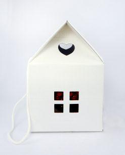 scatola casetta con pigna ceramica artigianale rossa