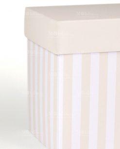 scatola con righe sabbia e bianche