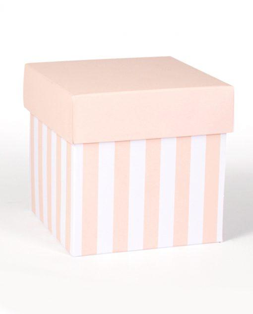 scatola grande cartoncino a righe bianco e rosa cipria