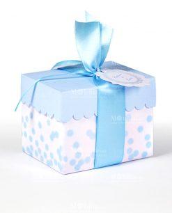 scatola grande cartoncino celeste e pois