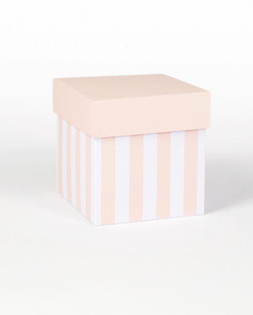 scatola piccola a righe rosa cipria