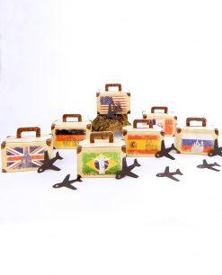 scatola portaconfetti cartoncino a forma di valigia