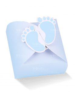 scatola portaconfetti celeste con piedini bimbo