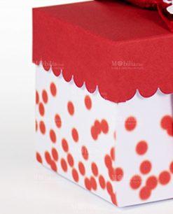 scatola portaconfetti rossa e bianca con pois