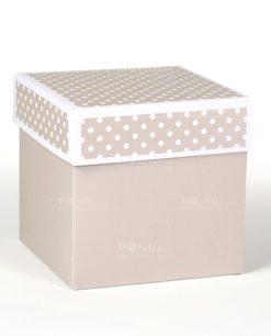 scatola quadrata tortora con coperchio a pois