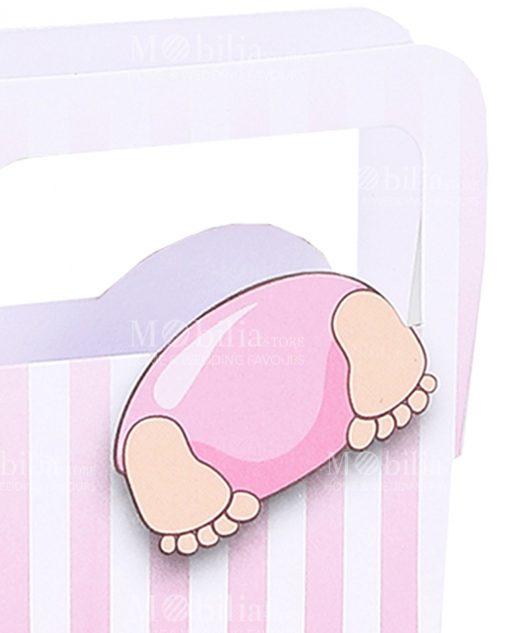 scatolina a forma di borsa con righe rosa