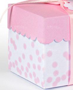 scatolina bianca con pois rosa