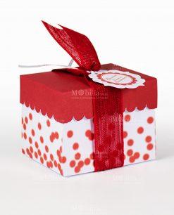 scatolina bianca con pois rossi e coperchio rosso