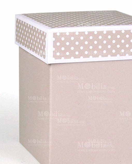 scatolina cartoncino tortora con coperchio a pois bianchi