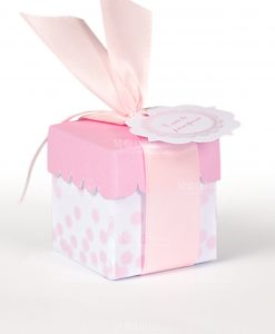 scatolina portaconfetti bianca a poi e coperchio rosa