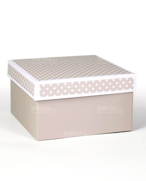 scatolina portaconfetti rettangolare tortora e pois bianchi