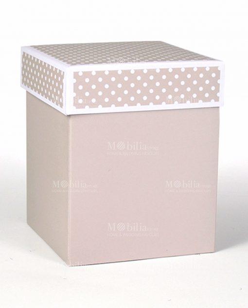 scatolina rettangolare alta con coperchio a pois