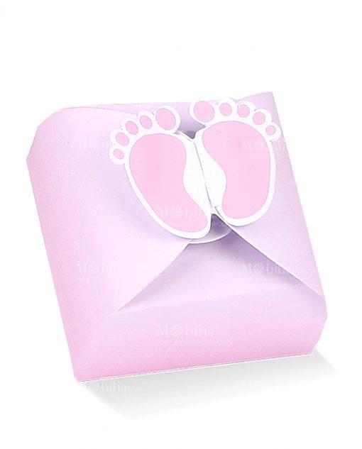 scatolina rosa con piedini bimba
