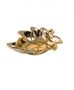 scuotatasche a forma di foglia dorata