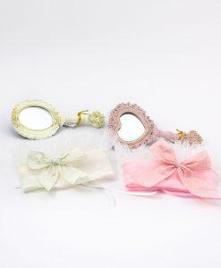 spacchietti da borsa bianco e rosa con sacchettini abbinati con fiocco linea princess ad emozioni