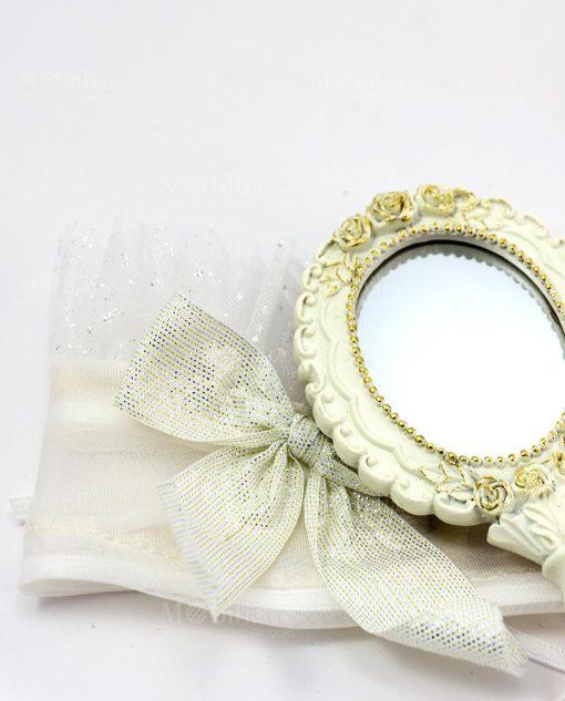 specchietto da borsa bianco con sacchettino portaconfetti abbinato linea princess ad emozioni