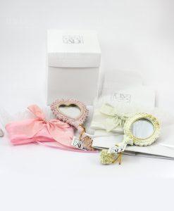 specchietto da borsa bianco e rosa con sacchetto abbinato e scatola linea princess ad emozioni
