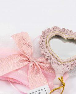 specchietto da borsa rosa con sacchettino portaconfetti abbinato linea princess ad emozioni