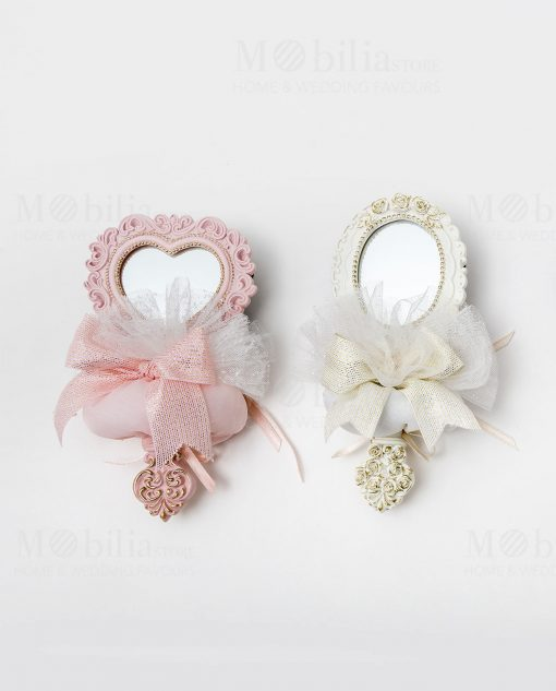 specchietto poliresina 2 modelli assortiti rosa e bianco con sacchetto linea princess ad emozioni 1