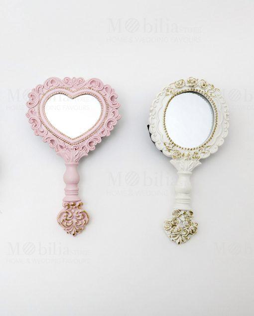 specchietto poliresina 2 modelli assortiti rosa e bianco linea princess ad emozioni 1
