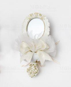 specchietto poliresina colore bianco con sacchetto bianco linea princess ad emozioni 1