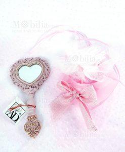 specchietto rosa con sacchetto rosa fai da te linea princess ad emozioni