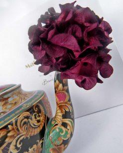 teiera con fiore porpora carta di gelso e scatola baci milano collezione tea time