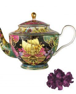 teiera diffusore 12 lt porcellana decoro oceano con fiore porpora baci milano tea time