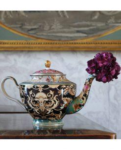 teiera nera decoro oceano collezione tea time baci milano