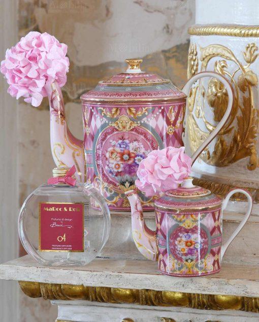 teiera porcellana azzurra decoro giardino segreto rosa grande e piccola collezione tea time baci milano