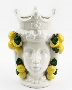 testa di moro donna ceramica bianca con limoni linea i mori ad emozioni