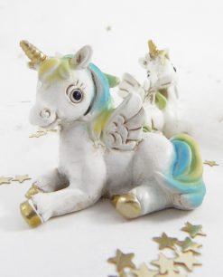 unicorno da appoggio seduto azzurro e giallo